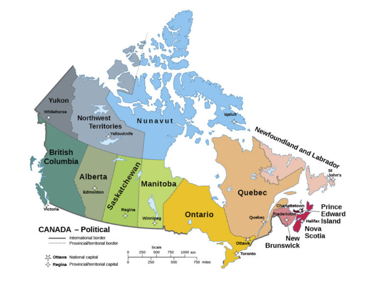 Printable Political Maps of Canada